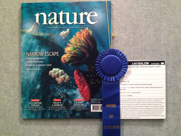 My editorial piece with its blue first place ribbon